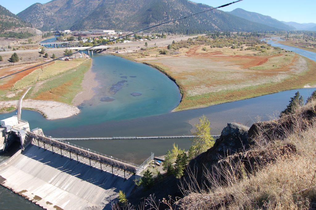 Milltown Reservoir during drawdown. Now a Superfund site.