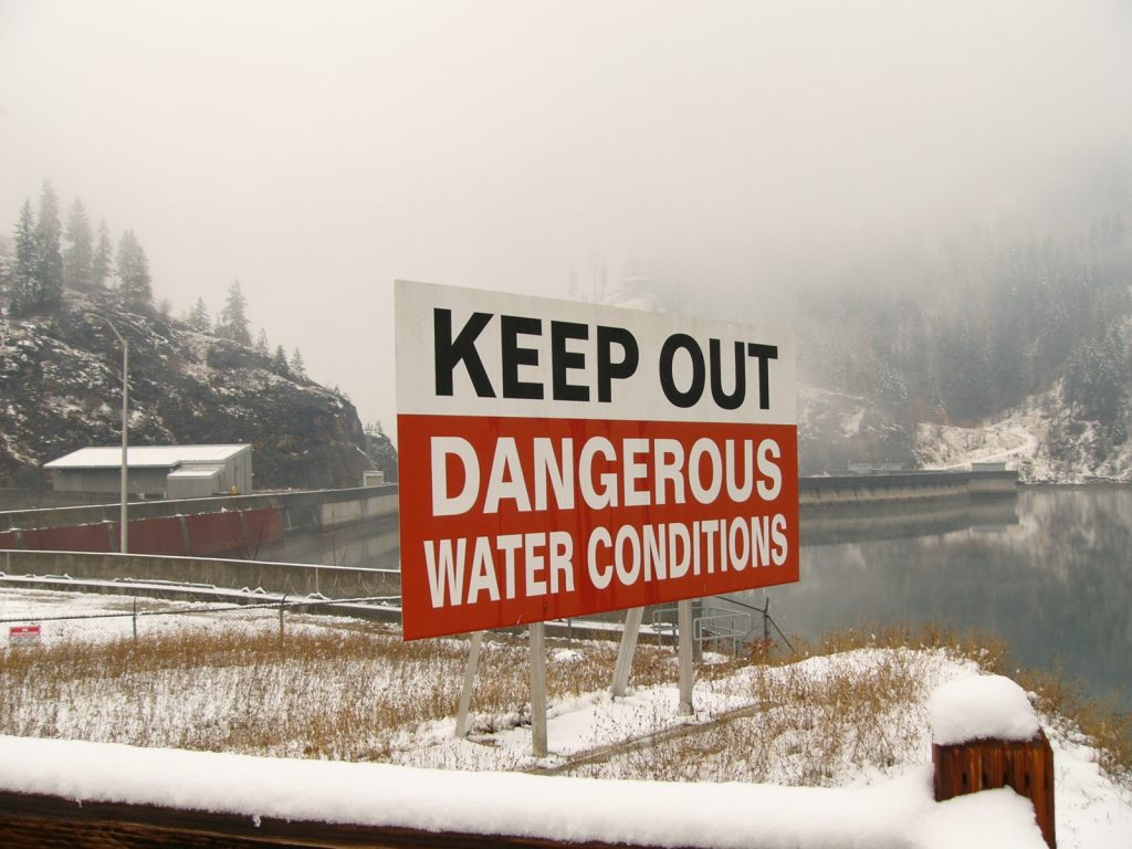 Warning sign above Boundary Dam.