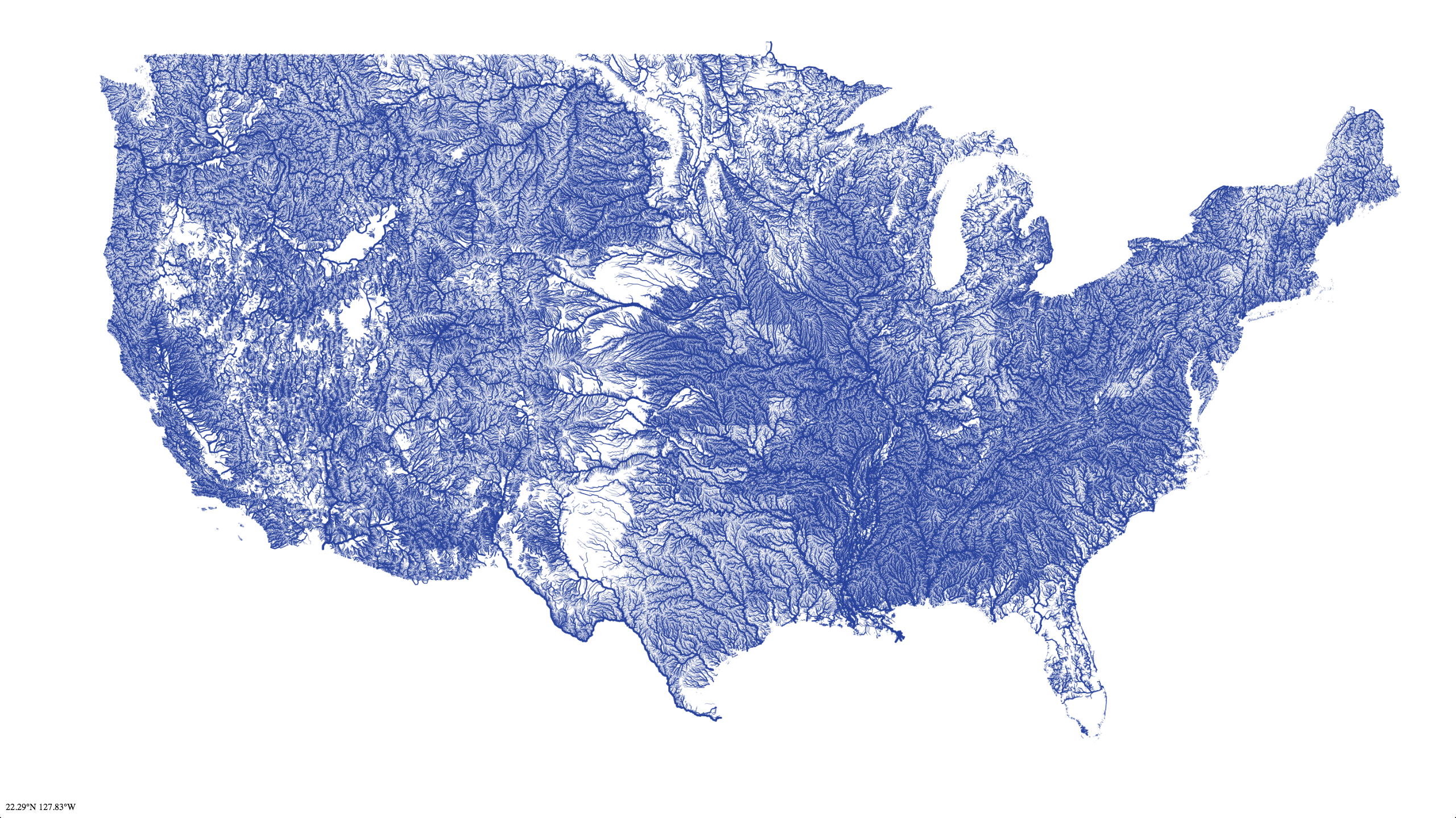 High-resolution vector map of all rivers in the contiguous 48 states.